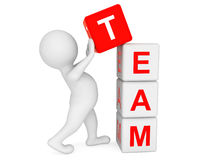 3d person placing Team Cubes. On a white background Royalty Free Stock Photos