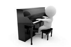 3D person playing piano. On a white background Royalty Free Stock Photos