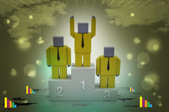 3d person in a podium winning first place Royalty Free Stock Photo