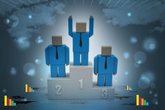 3d person in a podium winning first place. In color background Stock Photography