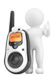 3d Person with Portable radio transceiver. 3d rendering Royalty Free Stock Images