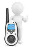 3d Person with Portable radio transceiver. 3d rendering Royalty Free Stock Photo