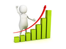 3d person presenting business successful growth chart graph. 3d render illustration Stock Photo
