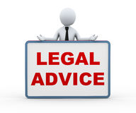 3d person presenting legal advice. 3d illustration of business man with legal advice sign banner board. 3d rendering of human people character Royalty Free Stock Photos