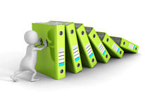 3d person push and support falling folder ring binders Royalty Free Stock Photo