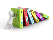 3d person push and support falling folder ring binders Royalty Free Stock Photography