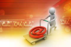 3d person with pushcart and e mail symbol Royalty Free Stock Photography