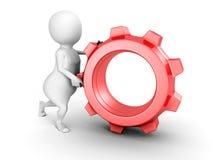 3d person pushing red metallic cogwheel gear Royalty Free Stock Images
