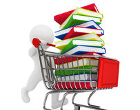3d person pushing shopping cart with books. A white background Stock Photo
