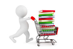 3d person pushing shopping cart with books. A white background Royalty Free Stock Images