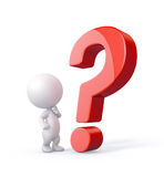 3D Person with Question Mark. Royalty Free Stock Photo