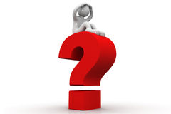 3d person with a question mark Royalty Free Stock Images