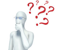 3d person and question marks Royalty Free Stock Photography