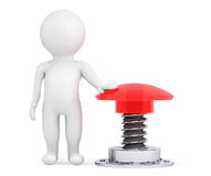 3d Person with Red Button. On a white background Stock Image