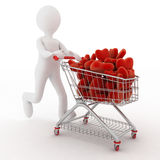 3d person with red hearts on supermarket pushcart Royalty Free Stock Photography