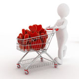 3d person with red hearts on supermarket pushcart Royalty Free Stock Images