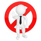3d Person with Red Stop Warning Sign. 3d Rendering Royalty Free Stock Photo