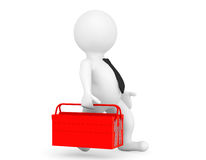 3d Person with Red Toolbox Stock Photography