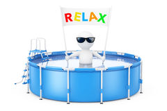 3d Person with Relax Placard Banner in Blue Portable Outdoor Rou Stock Image