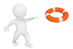 3d person rescuer with life-buoy. 3d person with rescuer life-buoy on a white background Royalty Free Stock Image