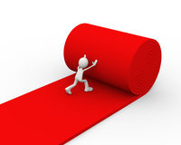 3d person rolling red carpet. 3d illustration of man rolling red carpet. 3d human person character and white people Stock Photography