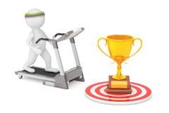 3D Person Running en una rueda de ardilla al trofeo de oro grande en frente Fotografía de archivo libre de regalías