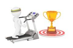 3D Person Running en una rueda de ardilla al trofeo de oro grande en frente Imagen de archivo libre de regalías