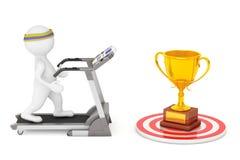 3D Person Running en una rueda de ardilla al trofeo de oro grande en frente Foto de archivo libre de regalías