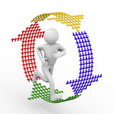 3d person running inside recycle symbol. 3d illustration of man running inside recycle symbol created with small arrows.  3d rendering of human people character Royalty Free Stock Photos
