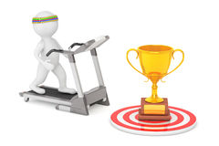 3D Person Running på en trampkvarn till den stora guld- trofén framme Royaltyfri Fotografi