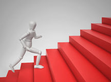 3D person running up the stairs. 3D rendering Royalty Free Stock Image