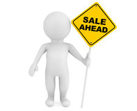 3d person with Sale Ahead traffic sign Stock Photos