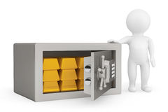 3d Person with Security metal safe and golden bars. On a white background Stock Photo