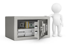 3d Person and Security metal safe with money Stock Photos