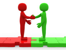 3d person shaking hands on puzzle pieces. The concept of busines. S partners. 3d render Stock Image
