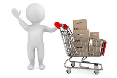 3d person with shopping cart and cargo boxes. On a white background stock illustration