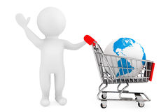 3d person with shopping cart and Earth Globe. On a white background Stock Image