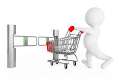 3d Person with Shopping Cart in front of Shop Turnstile Entrance Royalty Free Stock Photography