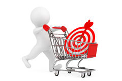 3d Person with Shopping Cart and Target as Darts. 3d Rendering Royalty Free Stock Photo