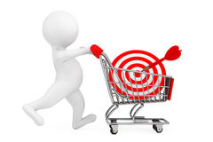 3d Person with Shopping Cart and Target as Darts. 3d Rendering Stock Photography