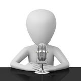3D person speaks into a microphone. Royalty Free Stock Photo
