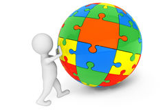 3d person with Sphere from Color Puzzles Royalty Free Stock Photo