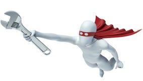 3d person - stålmanflyg med en skiftnyckel i hand för kolonnbild för askar 3d platta Royaltyfri Fotografi