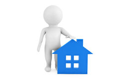 3d person standing near to the blue house. On a white background Royalty Free Stock Images