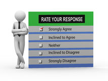3d person standing with survey response. 3d illustration of man standing with rate your response survey form.  3d human person character and white people Royalty Free Stock Photo