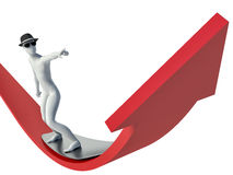 3d person stands on the arrow chart Stock Photography