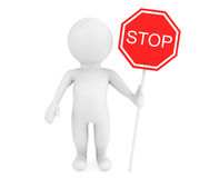 3d person with Stop traffic sign. On a white background Stock Images