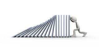3d person stopping domino fall. 3d illustration of man stopping falling object in the line of domino. 3d human person character and white people Royalty Free Stock Photo