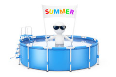 3d Person with Summer Placard Banner in Blue Portable Outdoor Ro Stock Photos