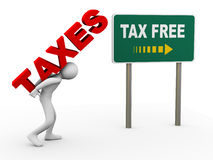 3d person tax free zone. 3d illustration of man caryying word taxes toward debt free zone pointed by sign post.  3d rendering of human people character Royalty Free Stock Photography